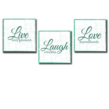 Tell Gallery - wall26 Live Laugh Love - 3 Piece Canvas Print - Wall Art Decor - Gallery Wrap Panels on Wooden Stretcher Bars - Colorful Design for Home - Beautiful Quote - Ready to Hang Teal