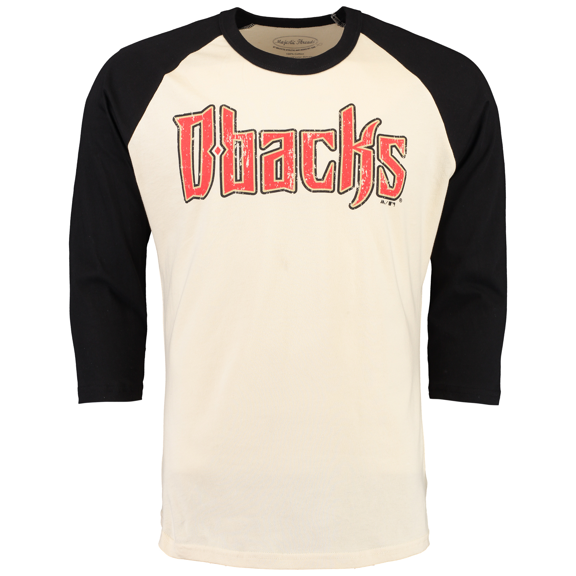 Arizona Diamondbacks Majestic Threads Softhand Vintage Cooperstown Three-Quarter Raglan Sleeve T-Shirt - Cream/Black
