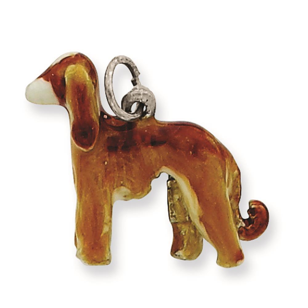 925 Sterling Silver Enameled Afghan Dog Solid Charm Pendant