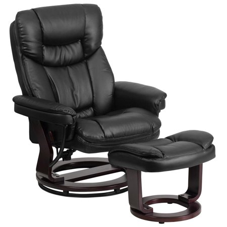 Contemporary Black Leather Recliner and Ottoman with Swiveling Mahogany Wood Base Base Black Leather Mahogany Frame