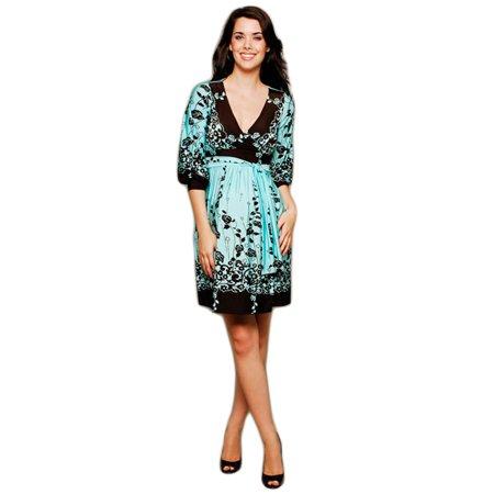 Print Surplice Dress - OLIAN Maternity Women's Floral Print Surplice Neck Dress X-Small Sky Blue