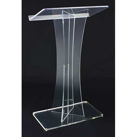 AMPLIVOX SOUND SYSTEMS SN3520 Lectern,Clear Acrylic,47x27x16 In