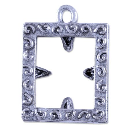 Charm for Jewelry Making - Rectangle Picture Frame 18x15mm Pewter Ant. Silver Plate (1-Pc)