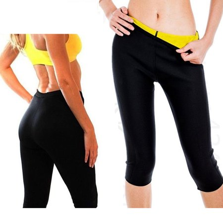 Neoprene Body Shaper Weight Loss Pants Capri Shorts for Weight Loss Womens Slimming Pants Sweat Sauna Thermo Pant FREE Eyeglass Pouch by Juniper's Secret. (Black/Yellow, Small-US 4/6) Short Womens Capris