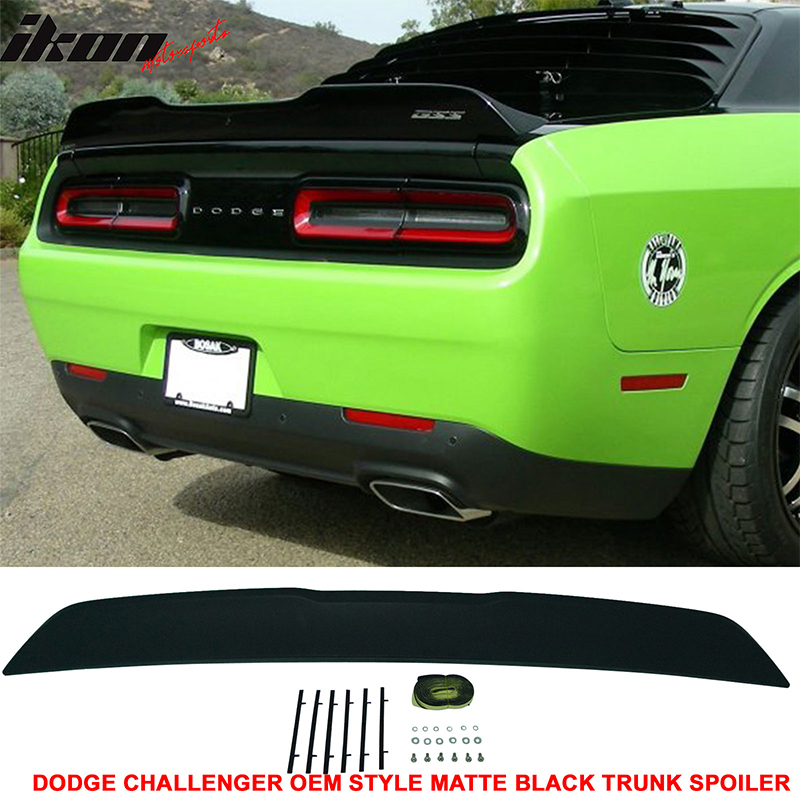 Fits 15-18 Dodge Challenger Rear ABS Trunk Spoiler Primered Matte Black Finish