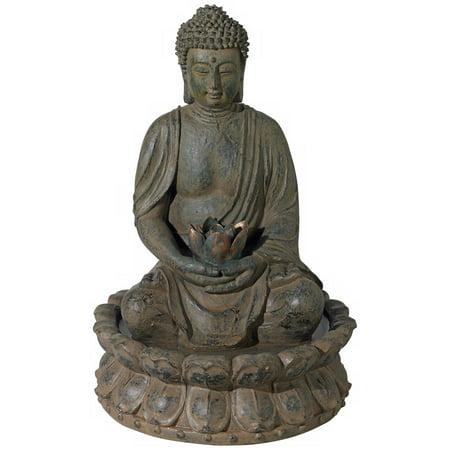 "John Timberland Meditating Buddha Antique Bronze 18.5""H Led Lighted Fountain"
