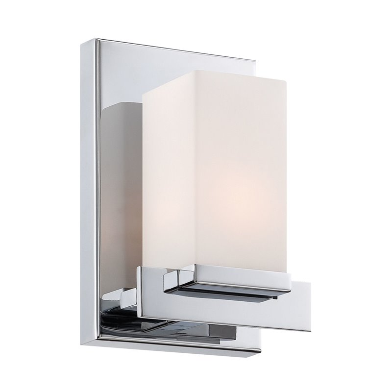 ALICO Sleek Vanity Light in Chrome and White Opal Glass