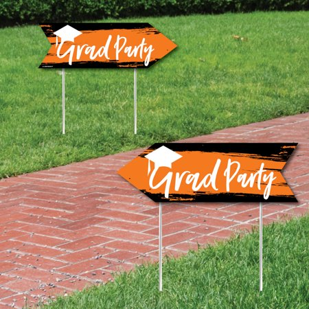 Orange Grad - Best is Yet to Come - Orange Graduation Party Sign Arrow - Double Sided Directional Yard Signs - Set of 2 - Graduation Party Signs