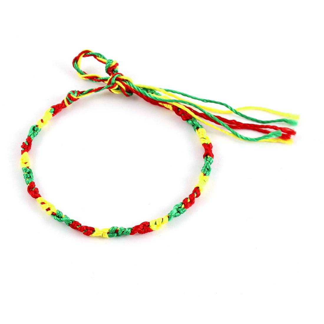 Ladies Women Braided String Bracelet Bangle Green Red Yellow - image 2 de 2