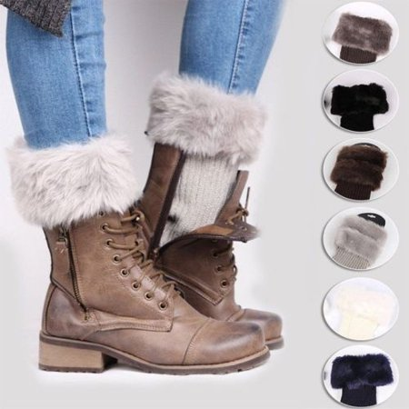 Women Knitted Fashion Boot Cuff Socks Woolen Fur Boot Leg Warmer Toppers Ladies Winter Warmer Foot Wrist Warm (Fur Topper)