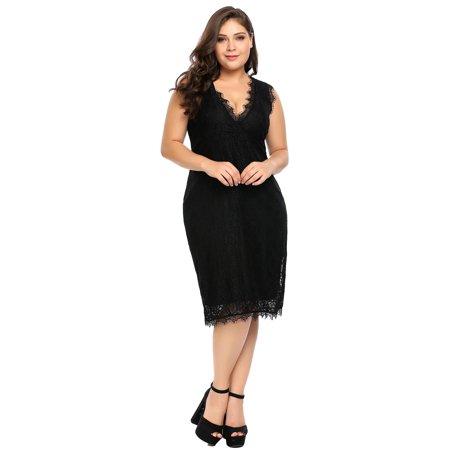199d5db81f6 Women Plus Size Wrap Front V-Neck Sleeveless Lace Bodycon Party Dress HFON  - Walmart.com
