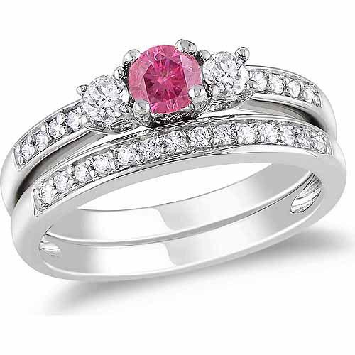 1/2 Carat T.W. Pink and White Diamond 14kt White Gold Three-Stone Bridal Set