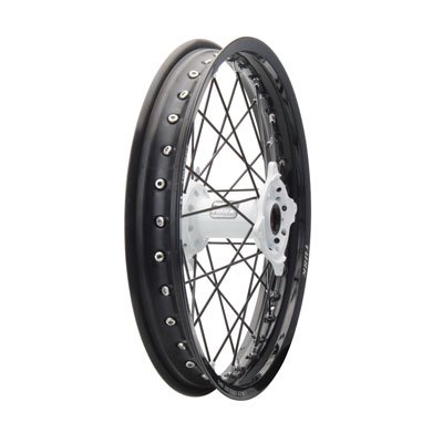 Impact Complete Wheel - Rear 19 x 2.15 Black Rim/Black Spoke/White Hub for Kawasaki KX125 2003-2005 (Kawasaki Rims)
