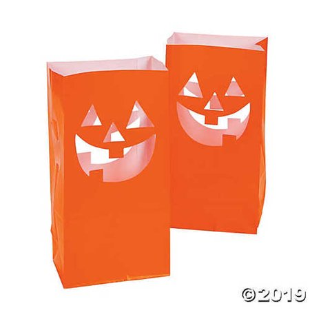 Paper Bag Halloween Luminaries (12 HALLOWEEN Party Decoration Pathway Walkway JACK O LANTERN LUMINARY)