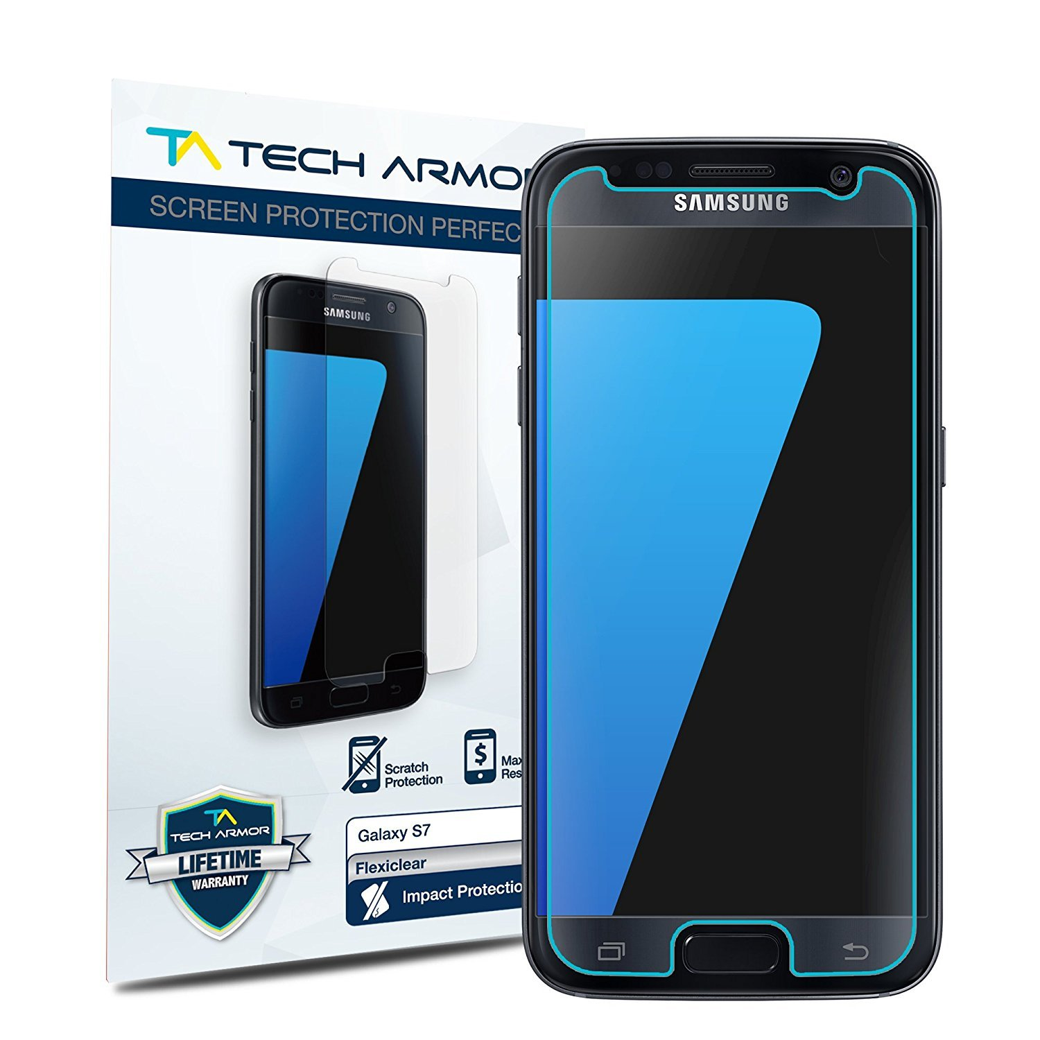 Tech Armor Premium TPU High Definition (HD) Clear Screen Protector for Samsung Galaxy S7 [2-Pack]