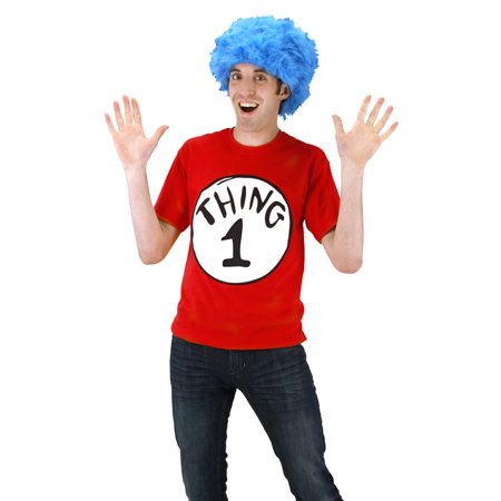 Dr. Seuss Cat In The Hat Thing 1 Tee Shirt Kit Men's Halloween Costume (Halloween Cat Print Out)