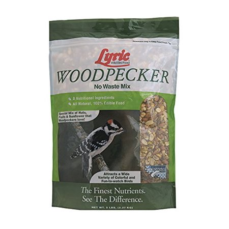 Woodpecker No-Waste Wild Bird Mix, 5 lb bag, Special mix of nuts, fruits and sunflower seeds that woodpeckers love By