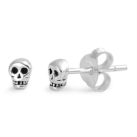 Tiny Skull Stud Earrings Sterling Silver - 4mm ()