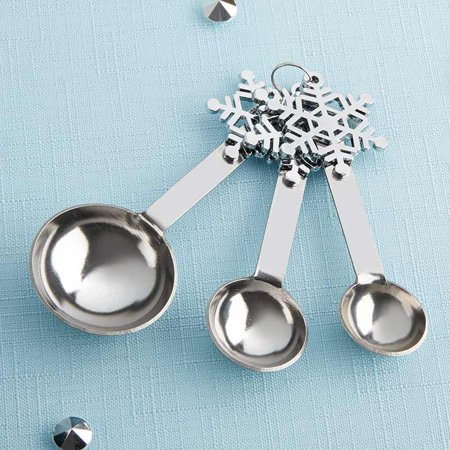 Snowflake Measuring Spoons - 6 Sets - Perfect Winter Wedding Favor, Baby Shower Favor, Bridal Shower Favor or Stocking -