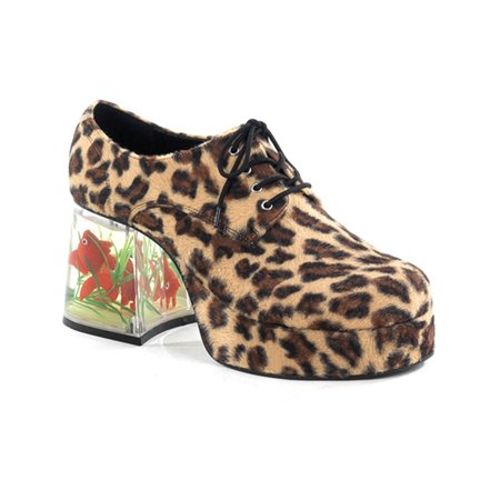Mens Platform Fish Filled Heel Retro Disco Shoes Cheetah Animal Print 3.5 Inch for $<!---->