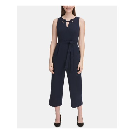 TOMMY HILFIGER Womens Navy Sleeveless Keyhole Cropped Jumpsuit Petites  Size: 10P