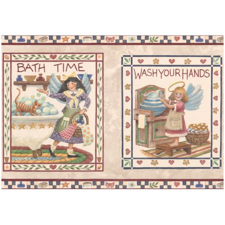 Wallpaper Border - Bath Time Wash Your Hands Kitchen Bathroom Wall Border Retro Design, Prepasted Roll 15 ft. x 9 (Make Your Own Wallpaper For Your Phone)