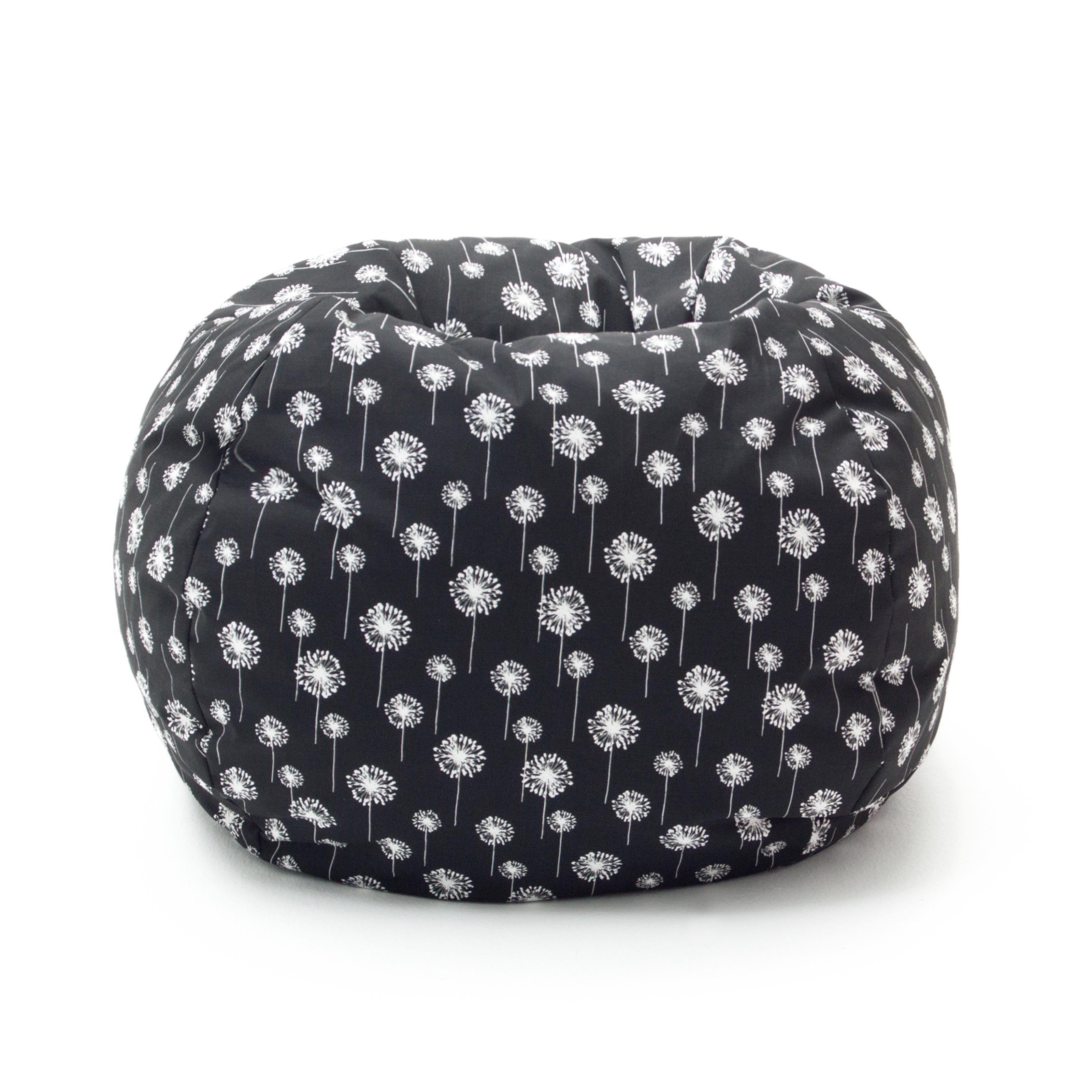 Comfort Research Medium Twill Bean Bag Chair - Black with Small White Dandelions