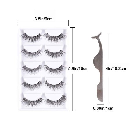 False Eyelash Kit with Clamp, 10 Lashes Fake Eyelashes, Soft Flexible False Eyelashes, Entire Eyelids for Ladies Women Natural Look (5 Pairs / Box) - image 7 of 8