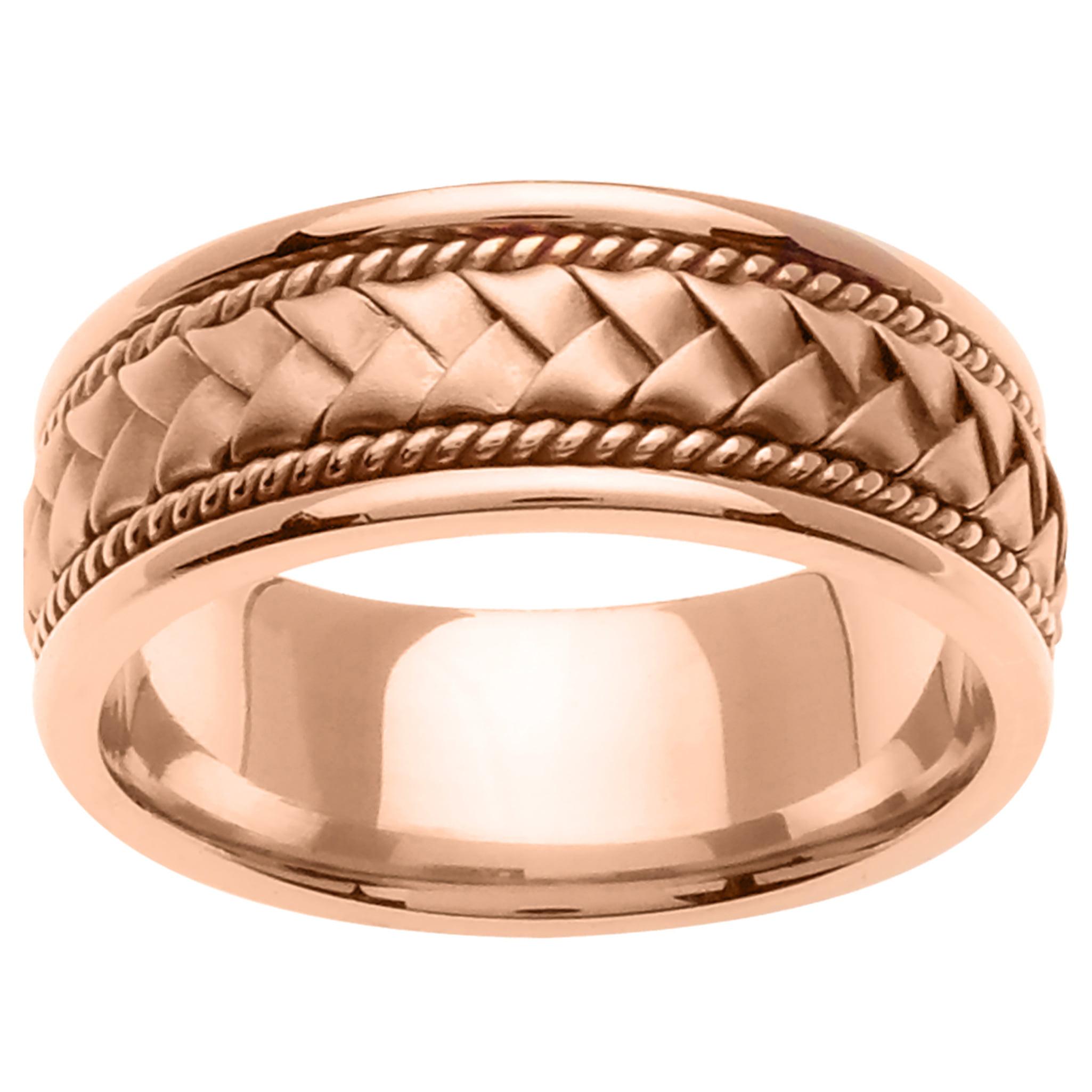 14K Rose Gold Basket Braid Handmade Comfort Fit Men's Wedding Band (8.5mm)