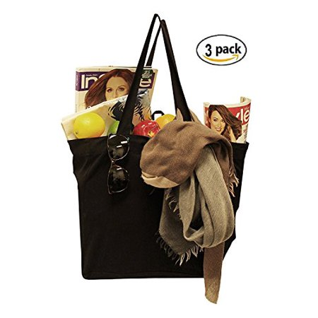 Earthwise Reusable Grocery Bag Shopping Tote 100% Natural Cotton Canvas in Black (Set of 3)