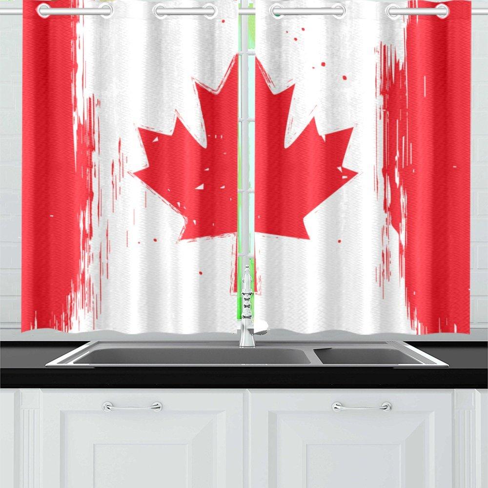 MKHERT Flag Of Canada Window Curtain Kitchen Curtain 26x39