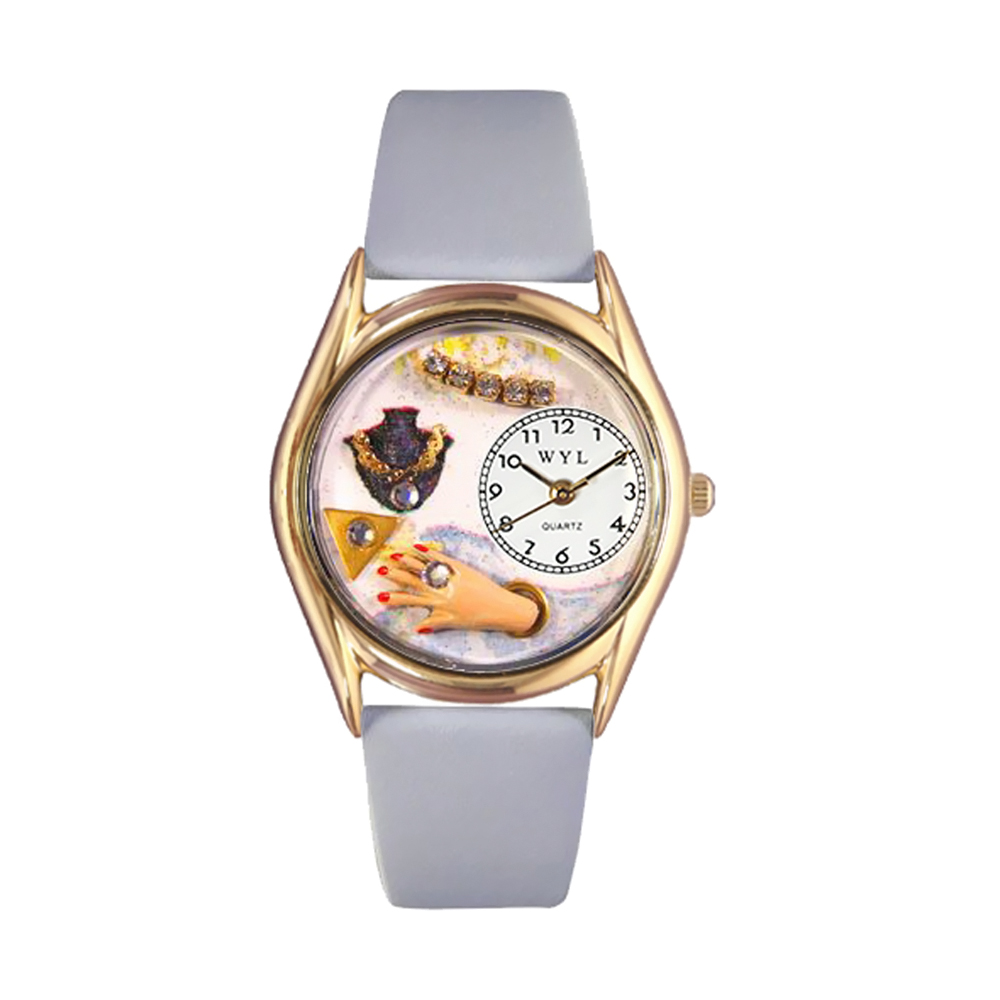 Whimsical Jewelry Lover Blue Baby Blue Leather And Goldtone Watch