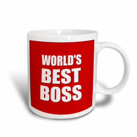 3dRose Worlds Best Boss. white text on red. great design for greatest boss, Ceramic Mug, 11-ounce