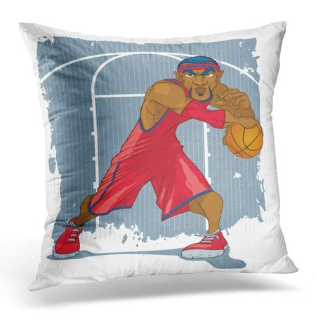 CMFUN Black African Basketball Player in Red Jersey Playing Ball Against Grunge Court American Pillow Case Pillow Cover 20x20 inch