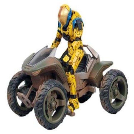 Halo McFarlane Toys Deluxe Vehicle with Action Figure Boxed Set Mongoose with Spartan EVA (yellow primary/blue secondary) Figure - Halo Deluxe Box Set