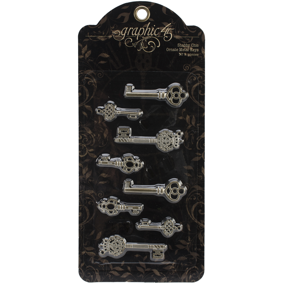 "Staples Ornate Metal Keys 8/Pkg-Shabby Chic 1.375"" To 2.125"""