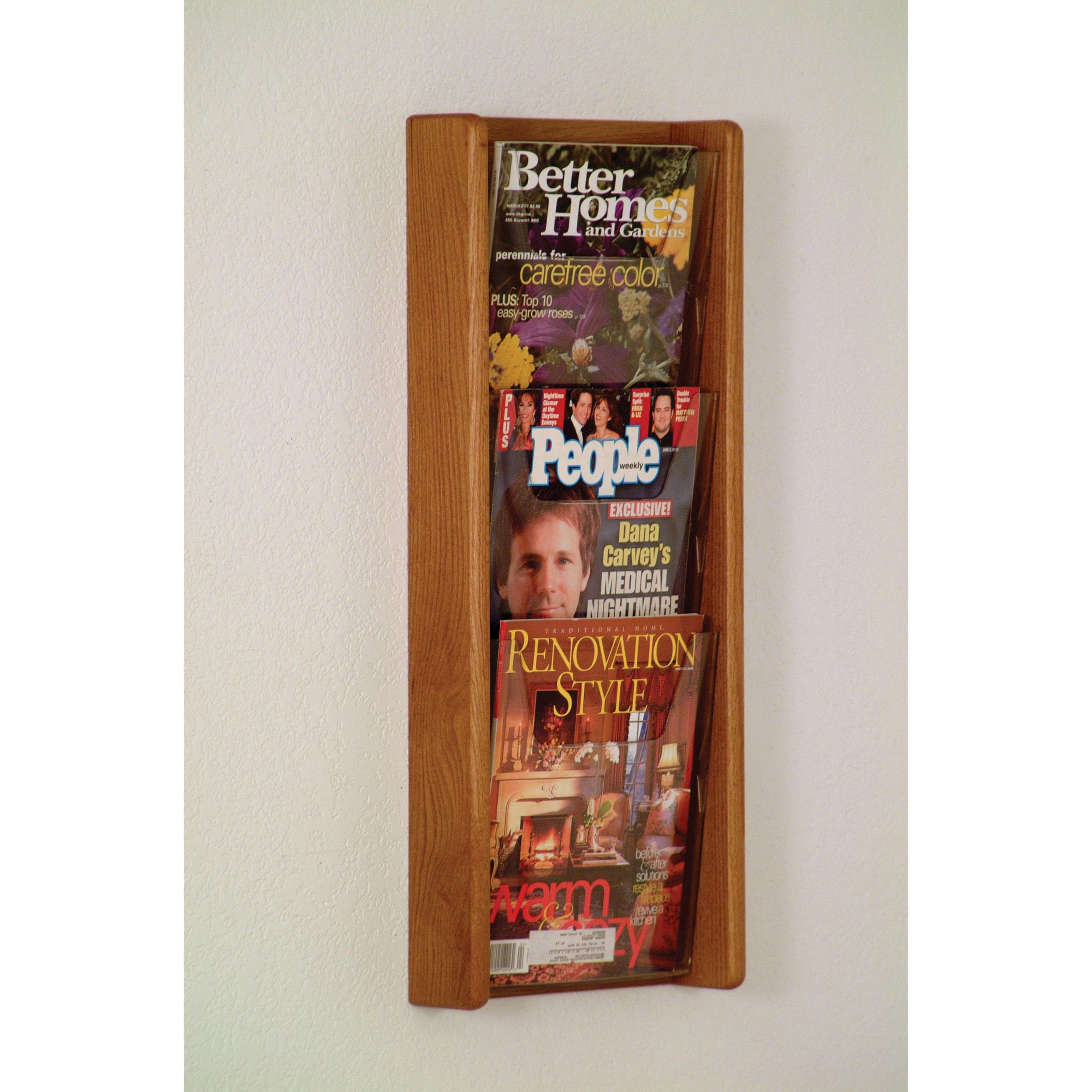3-Pocket Solid Wood Wall Magazine Rack