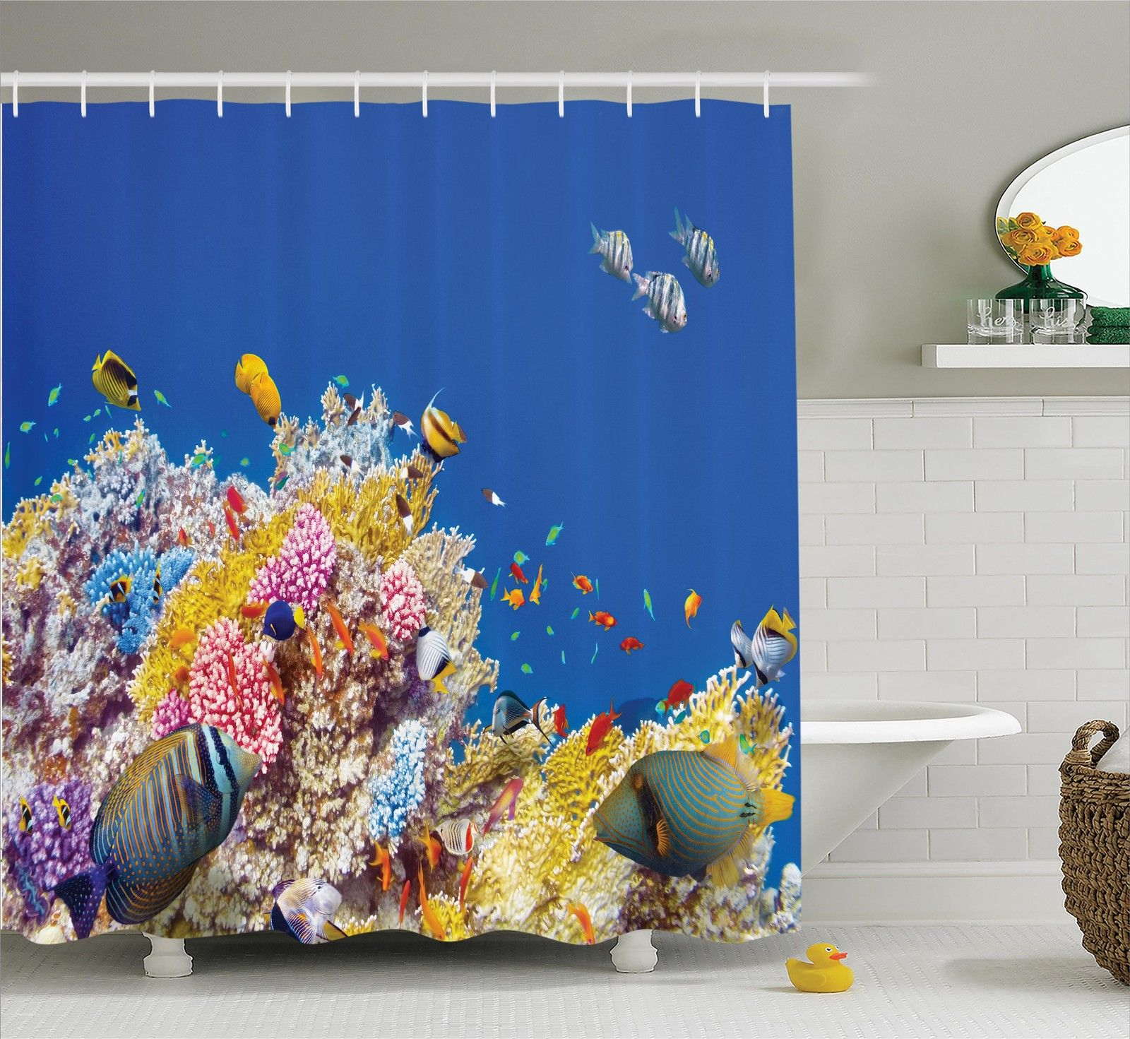 Ocean Decor Shower Curtain Set, Colorful Underwater World With Corals And Tropical Fish Exotic Diving Travel Destination, Bathroom Accessories, 69W X 70L Inches, By Ambesonne