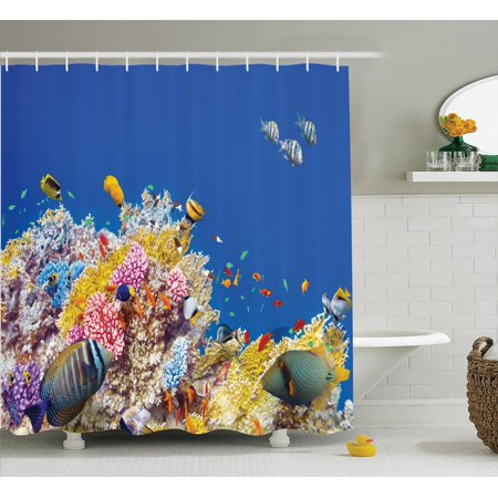 Ocean decor shower curtain set colorful underwater world for Diving and fishing mural