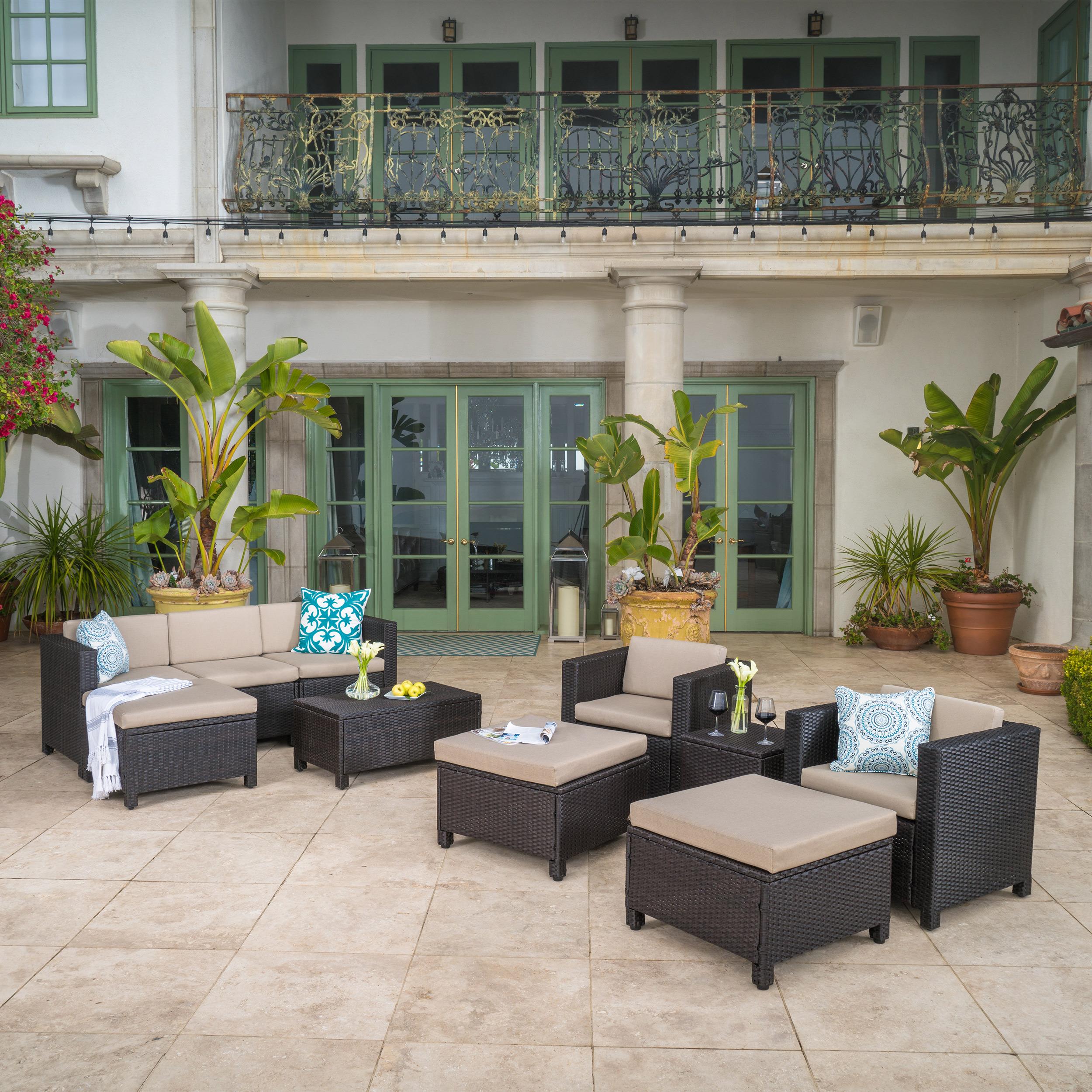Cascada Outdoor 10 Piece Wicker Sofa Collection with Cushions, Dark Brown, Beige