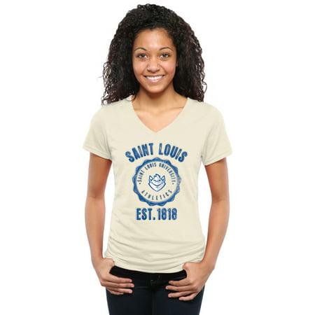 Saint Louis Billikens Women's Old-School Seal Tri-Blend V-Neck T-Shirt - (Mall In Saint Louis)