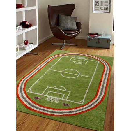Rugsotic Carpets Hand Tufted Wool 4'x6' Area Rug Kids Green K03012 ()