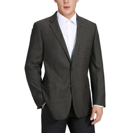 Men's Classic Fit Plaid Blazer 100% Wool Suit Separate Jacket Premium Comfort Sport Coat for Men