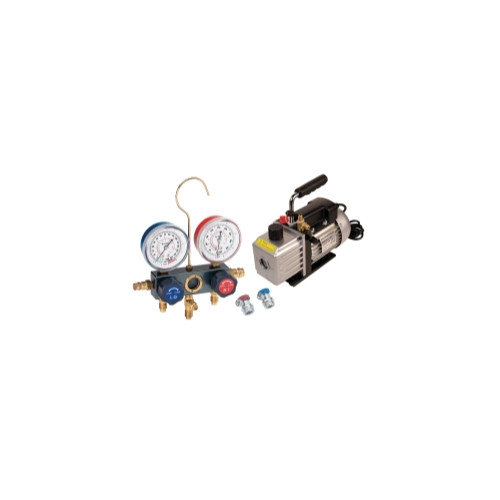 FJC Vacuum Pump and Aluminum Block Manifold Gauge Set with Manual Couplers