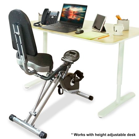 Exerpeutic Folding Foldable Recumbent Exercise Bike with Pulse
