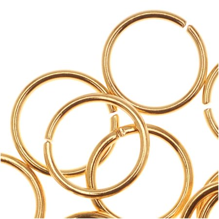 22K Gold Plated Open 8mm Jump Rings 20 Gauge (50) ()