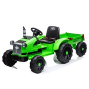 Kids Electric Tractor with Trailer, URHOMEPRO Battery Powered Ride on Toys for Boys Girls, 12 Volt Ride on Cars with Remote Control, 3 Speeds, LED Lights, MP3 Player, RC Cars, Gifts, Green, W13513
