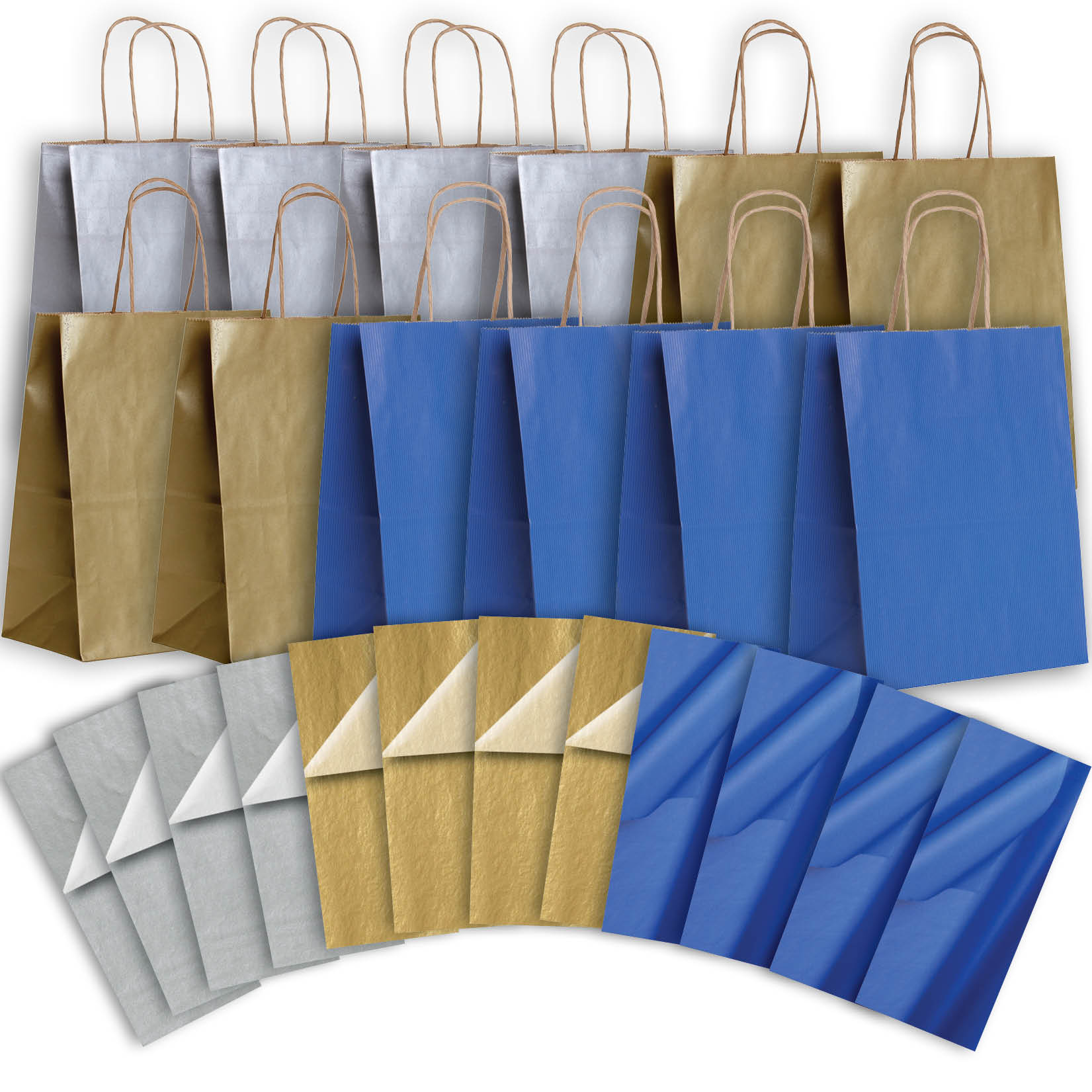 Jillson & Roberts Eco-Friendly Kraft Medium Gift Bag & Tissue Assortment, Hanukkah (12 Bags)