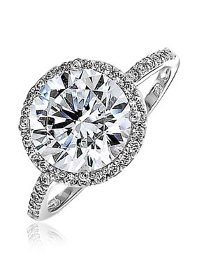 6da63c4875ce8c Product Image 3 CT Round Brilliant Solitaire AAA CZ Cubic Zirconia Halo  Statement Engagement Ring Thin Pave Band
