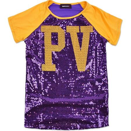 Big Boy Prairie View A&M Panthers Ladies Sequins Tee [Purple - L]
